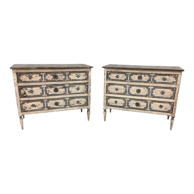 Pair of Italian Painted Chests / Commodes - 18th C For Sale