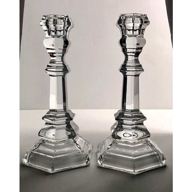 Late 20th Century Vintage Tiffany & Co Crystal Plymouth Candlesticks - a Pair For Sale - Image 5 of 5