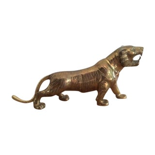 Large Vintage Brass Tiger