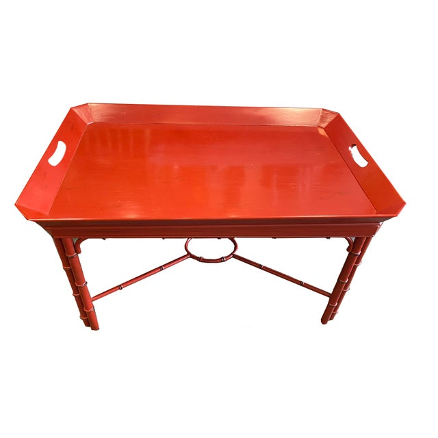 Wood Baker Furniture Asian Style Red Tray Table For Sale - Image 7 of 7