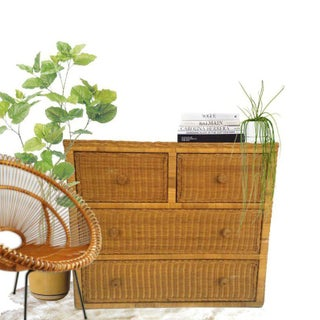 1970s Boho Chic Rattan Chest of Drawers Preview