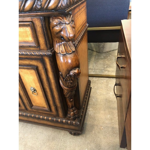 2010s Traditional Black Faux Marble Top Buffet with Lion Motif Corner Pillars For Sale - Image 5 of 10