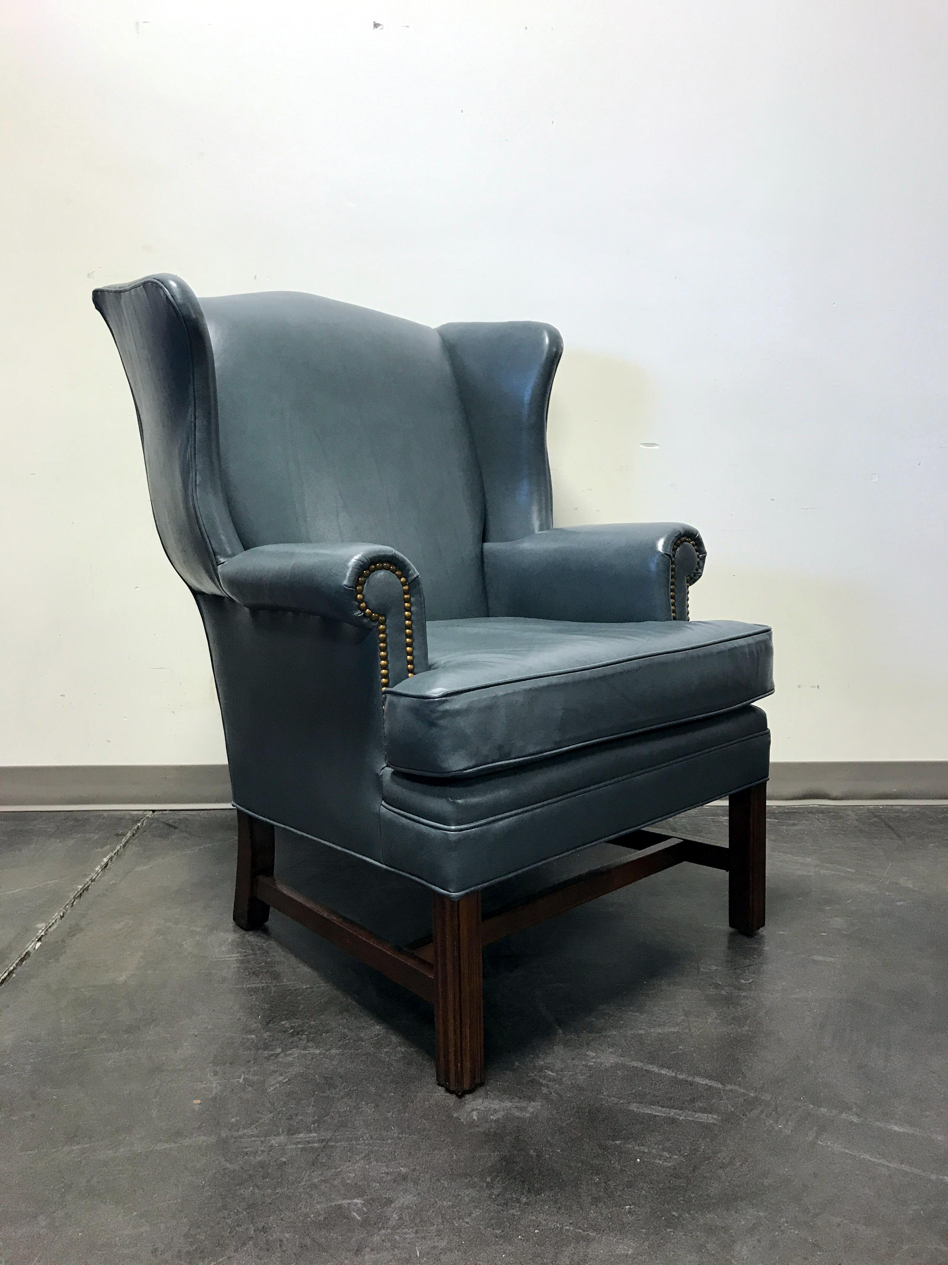 Here is a handsome wing chair by Leathercraft of Conover North Carolina USA. Chippendale Leathercraft Slate Blue Leather ...  sc 1 st  Chairish & Leathercraft Slate Blue Leather Wing Back Chair | Chairish