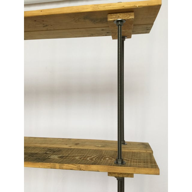 Industrial Tall Recycled Wood and Metal Rod Adjustable Bookcase Shelf For Sale - Image 9 of 12