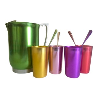 Vintage Mid Century Modern Rare Anodized Spun Aluminum Multicolor Beverage Serving Set - 9pc For Sale