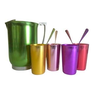 Vintage Mid Century Modern Rare Anodized Spun Aluminum Multicolor Beverage Serving Set - 9pc For Sale