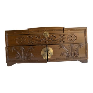 Midcentury Asian Chinoiserie Carved Jewelry Box For Sale