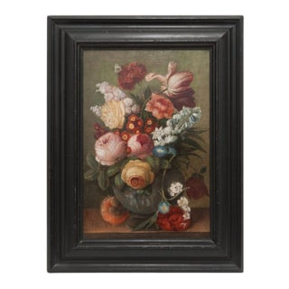 Mid 19th Century Antique Floral Still Life Framed Oil Painting For Sale