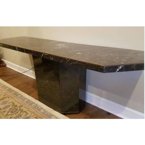 Marble With Brass Inlay Console Table - Image 6 of 9