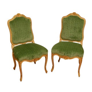 1940s Vintage Louis XV Style Side Chairs- A Pair For Sale
