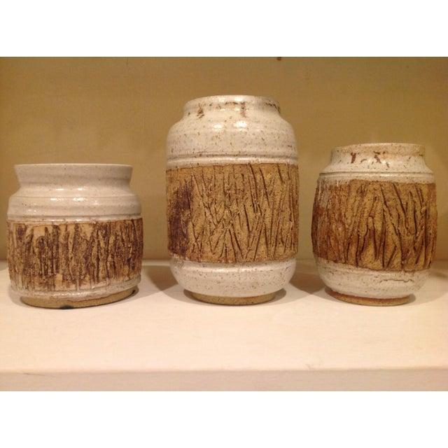 Ceramic Faux Bois Art Pottery Vases - Set of 3 For Sale - Image 7 of 7