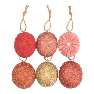 Sea Urchin Christmas Ornaments in Coral Pink - Set of 6 For Sale