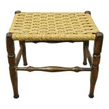 Image of Vintage Mid Century Modern Woven Rope Footstool Hans Wegner Style Stool Ottoman For Sale