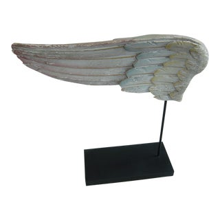 Polychromed Antique Angel Wing on Stand