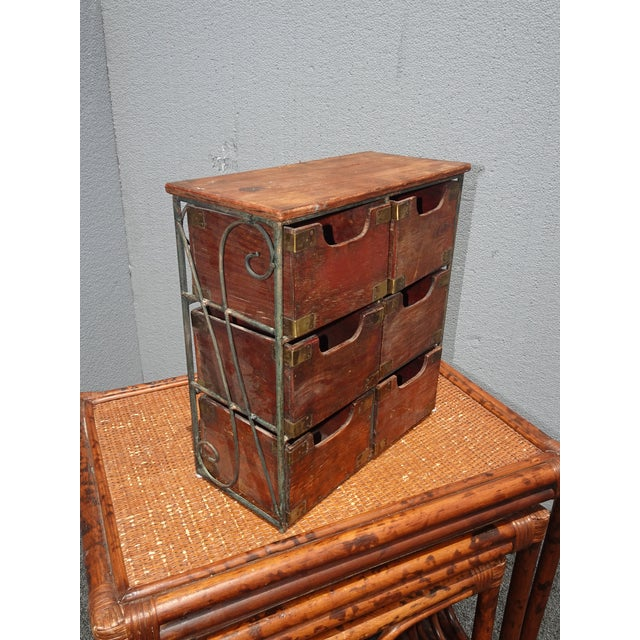 Vintage French Country Table Top Storage Bin Drawers (6) W Decorative Brass For Sale - Image 4 of 12