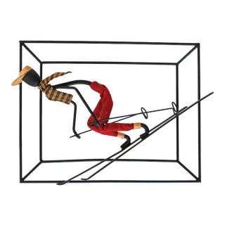 Vintage Wrought Iron Skier Wall Decor For Sale