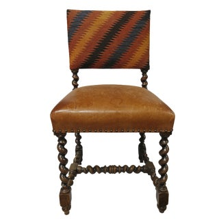 Chair - Upholstered Back - Leather Seat Turned Legged Chair For Sale
