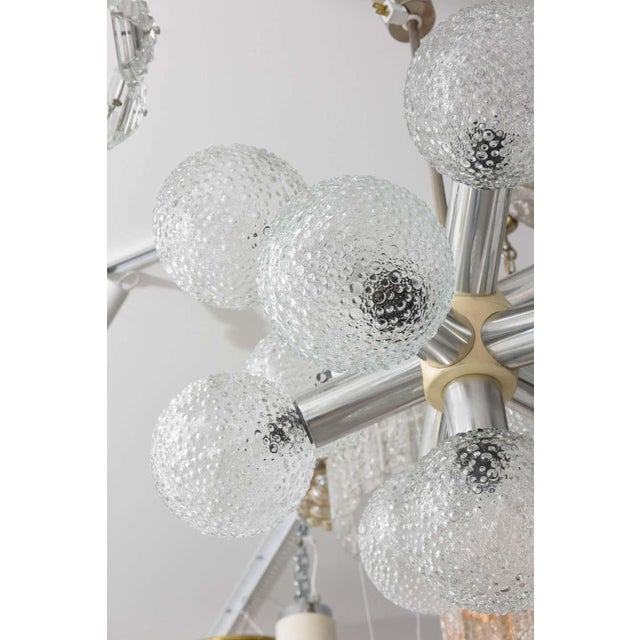 Metal Polished Chrome and Bubble Glass Chandelier Modified Space-Age Style For Sale - Image 7 of 11