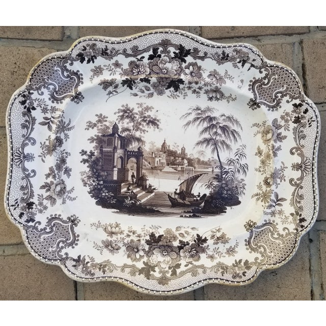 Late 19th Century Victorian English Stoneware Transfer Serving Platter For Sale - Image 5 of 5
