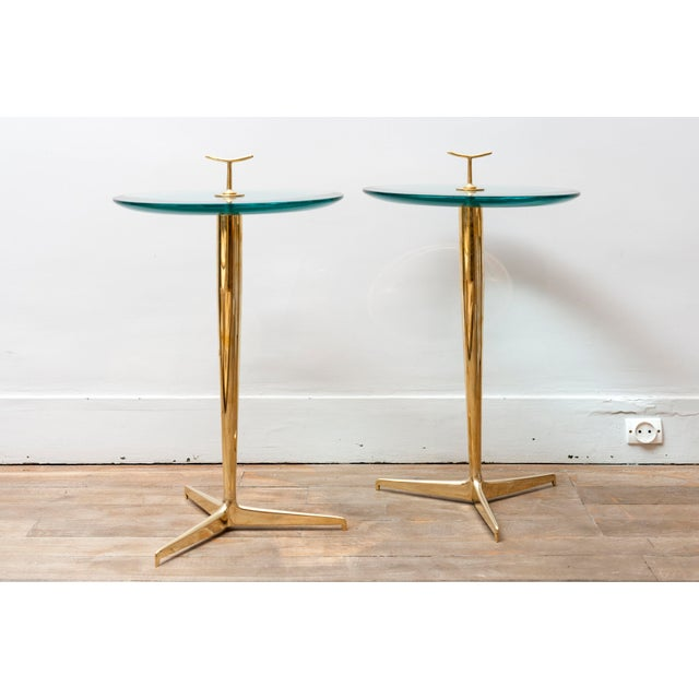 Elegant pair of side tables by Poggi Brass and thick lens effect glass Italy, 1990's Height including the handle : 64 cm...