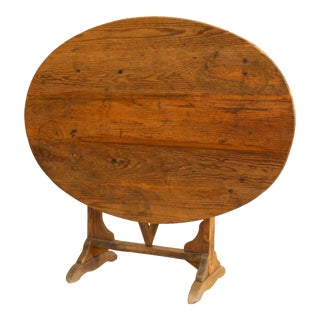 English Country Oval Pine End Table For Sale