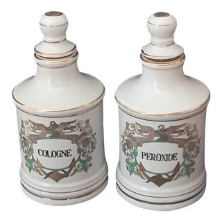 English Cologne and Peroxide Apothecary Jars - A Pair For Sale