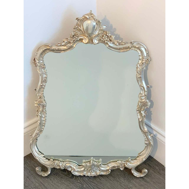 French silver plated dressing mirror, attributed to Christofle Of cartouche shape with heavy, fine casting with chased...