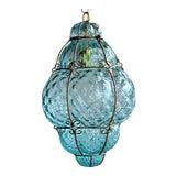 "Image of Large 22"" Seguso Murano Blue Bubble Glass Pendant Chandelier For Sale"