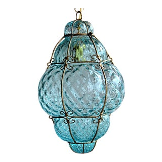 "Large 22"" Seguso Murano Blue Bubble Glass Pendant Chandelier For Sale"
