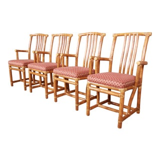 McGuire Hollywood Regency Organic Modern Bamboo Rattan Armchairs - Set of 4 For Sale