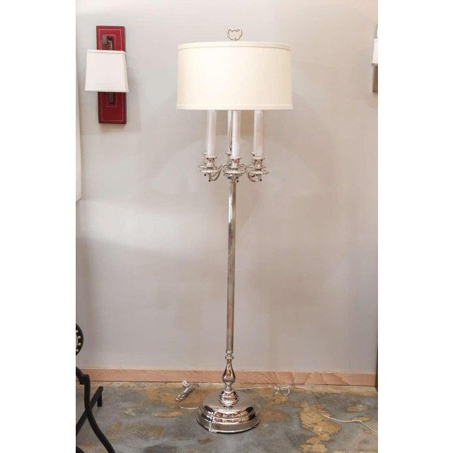 Modern interpretation for this early-20th Century Georgian style candelabra floor lamp. Completely restored. New polish...