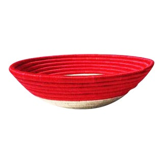 African Red Woven Basket For Sale
