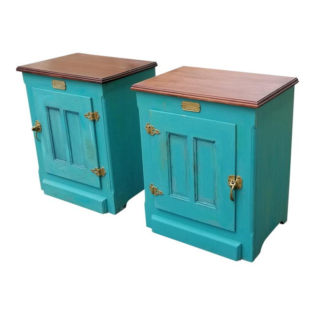 1990s French Country White Clad Turquoise Nightstands - a Pair For Sale