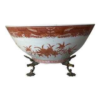 Chinese Export Reproduction Fitzhugh Pattern Bowl With American Armorial with Brass Stand For Sale