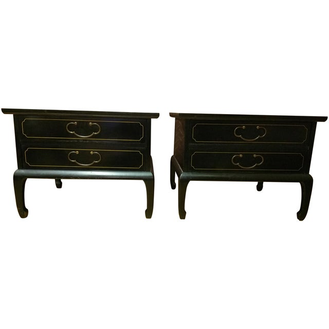 Am. Of Martinsville Black Lacquer Tables - Pair - Image 1 of 8