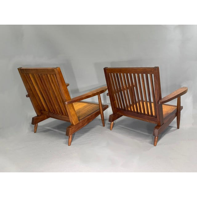 George Nakashima Pair of Spindle Back Lounge Chairs For Sale - Image 10 of 13