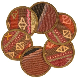 Kilim Coasters Set of 6 | Kazazlar For Sale