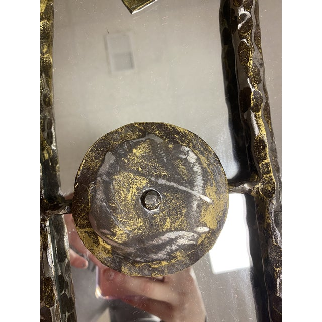 2000 - 2009 Holly Hunt Rustic Hammered Iron Decorative Mirror For Sale - Image 5 of 8