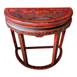 Antique Chinese Cinnabar Red Lacquered Demi Lune Table For Sale