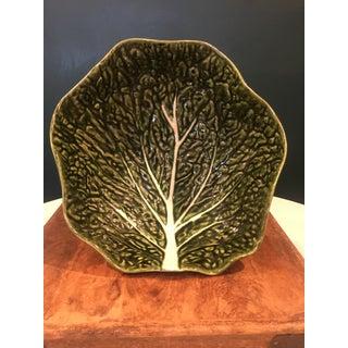 Vintage Portuguese Majolica Green Leaf Cabbage Salad Bowl Preview