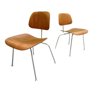 1960's Eames for Herman Miller Dcm Molded Walnut Plywood Chairs ~ a Pair For Sale