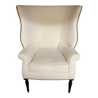 White Victoria Hagen Wingback Chair For Sale