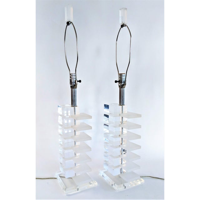 Mid-Century Modern Lucite Stacked Lamps - A Pair - Image 7 of 11