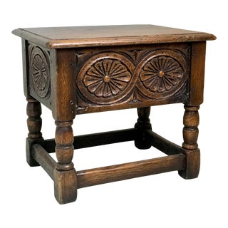 19th Century Traditional Oak Joint Stool/ Bible Box