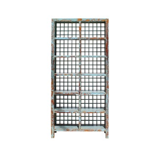 Chinese Distressed Blue Lacquer Display Bookcase Cabinet For Sale