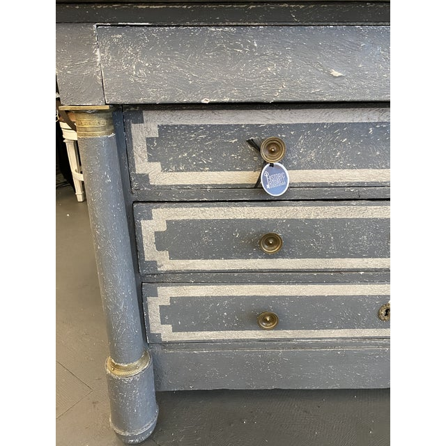 19th century French Empire painted commode with specimen marble top. Beautiful textured gesso finish consisting of four...