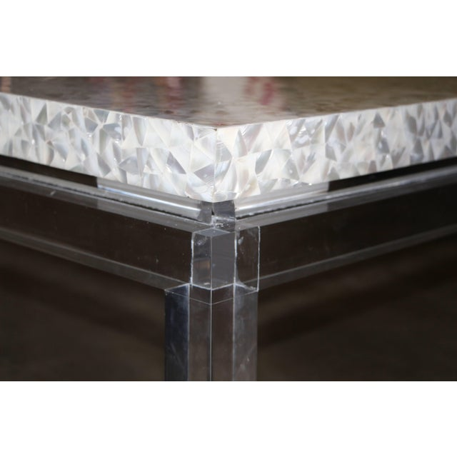White Phyllis Morris Custom Lucite and Mother of Pearl Coffee Table Signed For Sale - Image 8 of 11