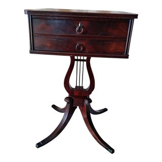 1940s Regency Lyre Base Mahogony Side Table For Sale