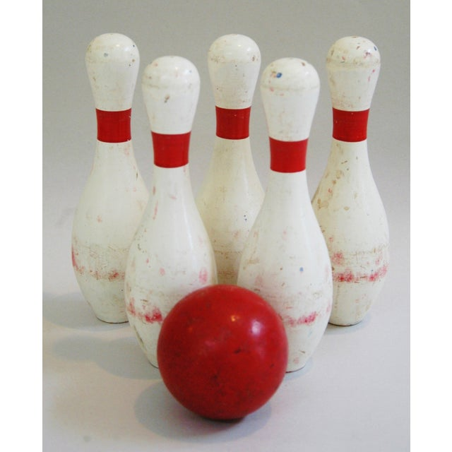 1940s Child's Wood Bowling Pins & Ball - Set of 6 - Image 8 of 10