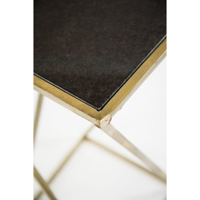 Modern Gold Steel & Black Granite Accent X Frame Tables - A Pair - Image 7 of 11